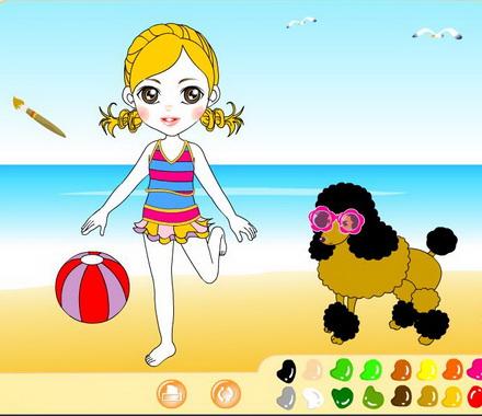 Раскраска онлайн с девочкой и собачкой