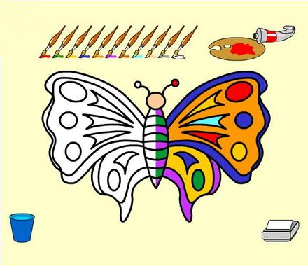 Раскраска с бабочкой
